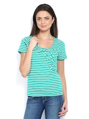 Maine by Debenhams Women Green & White Striped Top