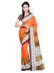 Orange & Brown Georgette Printed Saree Majestic Silk