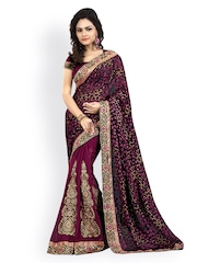 Majestic Silk Black & Magenta Brasso Chiffon Fashion Saree