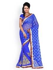 Majestic Silk Blue Embroidered Supernet Jacquard Partywear Saree