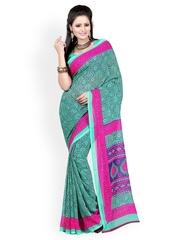 Green Georgette Printed Saree Majestic Silk