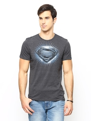 Man of Steel Charcoal Grey Printed T-shirt