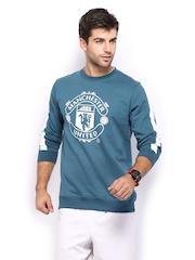 Manchester United Men Blue Printed Sweatshirt