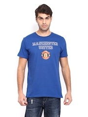 Manchester United Men Blue Printed T-shirt