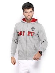 Manchester United Men Grey Melange Hooded Printed Sweatshirt
