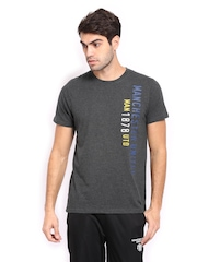 Manchester United Men Grey Melange Printed T-shirt
