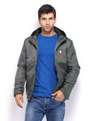 Manchester United Men Grey Padded Hooded Jacket