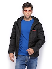 Manchester United Men Black Padded Hooded Jacket