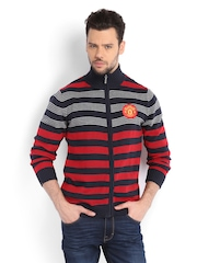 Manchester United Men Navy & Red Striped Sweater