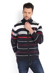 Manchester United Men Navy & White Striped Sweater