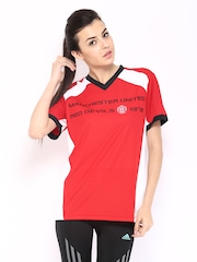 Manchester United Women Red & White Printed T-shirt