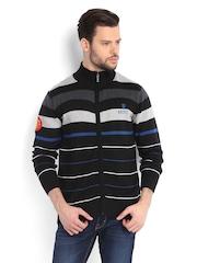 Manchester United Men Black Striped Sweater