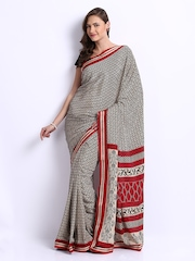 Manvi Beige & Black Printed Crepe Fashion Saree