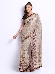 Manvi Beige & Burgundy Printed Crepe Fashion Saree