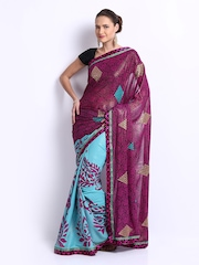 Manvi Teal Blue & Magenta Crepe Printed Fashion Saree