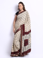 Manvi Cream Coloured Crepe Printed Fashion Saree