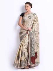 Manvi Cream Coloured Jacquard Crepe Printed Fashion Saree