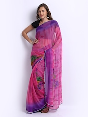 Manvi Purple & Pink Chiffon Printed Fashion saree