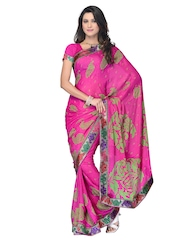 Manvi Pink Printed Crepe Fashion Saree