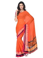 Manvi Orange Georgette Printed Saree