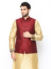 Manyavar Men Maroon Sleeveless Nehru Jacket