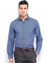 Mark Taylor Men Blue Checked Formal Shirt