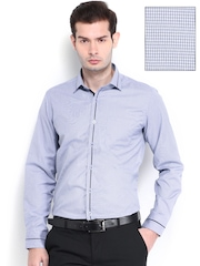 Mark Taylor Men Blue Checked Slim Fit Semiformal Shirt