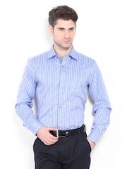 Mark Taylor Men Blue Striped Slim Fit Formal Shirt