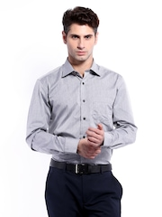 Mark Taylor Men Grey & Black Striped Slim Fit Formal Shirt