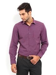 Mark Taylor Men Maroon & Blue Checked Slim Fit Formal Shirt