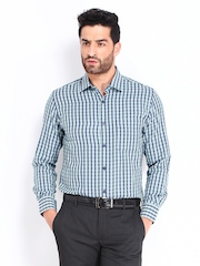 Mark Taylor Men Navy & Green Checked Formal Shirt