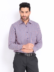 Mark Taylor Men Navy & Red Checked Formal Shirt