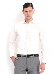 Mark Taylor Men Cream-Coloured Slim Fit Formal Shirt