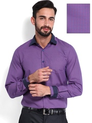 Mark Taylor Men Purple & Blue Checked Slim Fit Semiformal Shirt