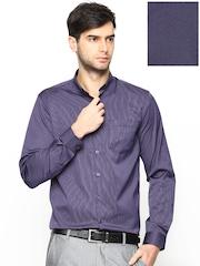 Mark Taylor Men Purple Pinstriped Formal Shirt