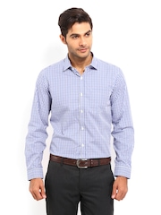 Mark Taylor Men White & Blue Checked Slim Fit Formal Shirt