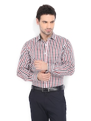 Mark Taylor Men White & Red Checked Slim Fit Formal Shirt