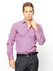 Mark Taylor Men Orange & Blue Gingham Checked Slim Fit Formal Shirt