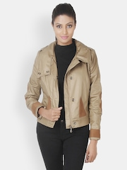 Martini Women Beige Biker Jacket