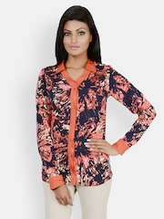 Martini Women Blue & Orange Printed Shirt