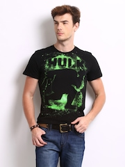 Marvel Men Black Hulk Printed T-shirt
