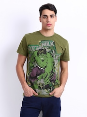 Marvel Men Olive Green Hulk Printed T-shirt