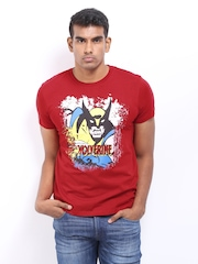 Marvel Men Red Wolverine Print T-shirt