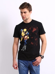 Marvel Men Black Wolverine Printed T-shirt