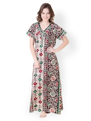 Masha Biege & Brown Printed Maxi Nightdress NT52-179