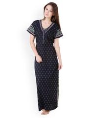 Masha Navy Printed Maxi Nightdress NT50-174