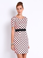 Mast & Harbour Baby Pink & Black Printed Tiffany Tailored Dress