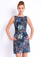 Mast & Harbour Blue Printed Tailored Dress