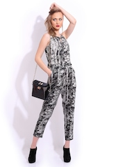 Mast & Harbour Grey & Black Printed Club Jumpsuit
