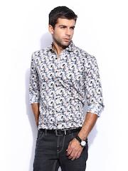 Mast & Harbour Men Beige & Blue Printed Sharp Fit Club Formal Shirt